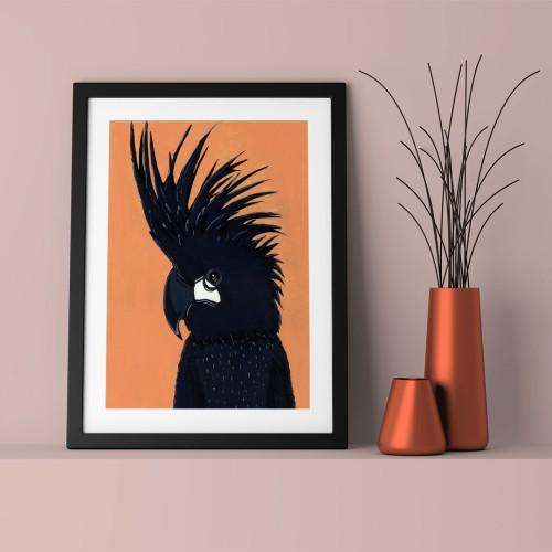 Siyah Papağan Çerçeveli Poster