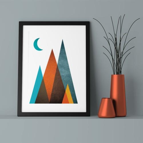 Mavi Ay ve Üçgenler Çerçeveli Poster