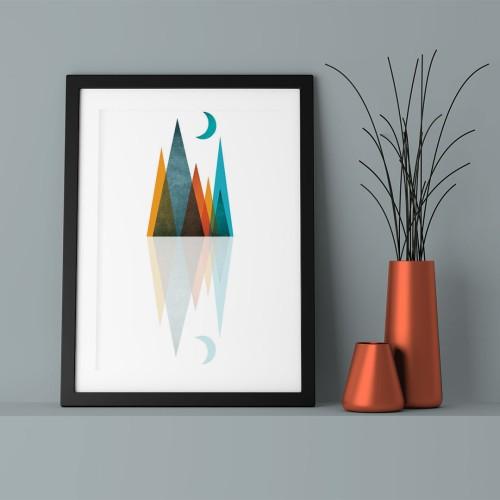 Mavi Ay ve Üçgenler Yansıma Çerçeveli Poster