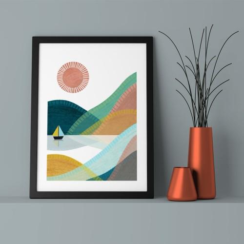 Minik Yelkenli Çerçeveli Poster