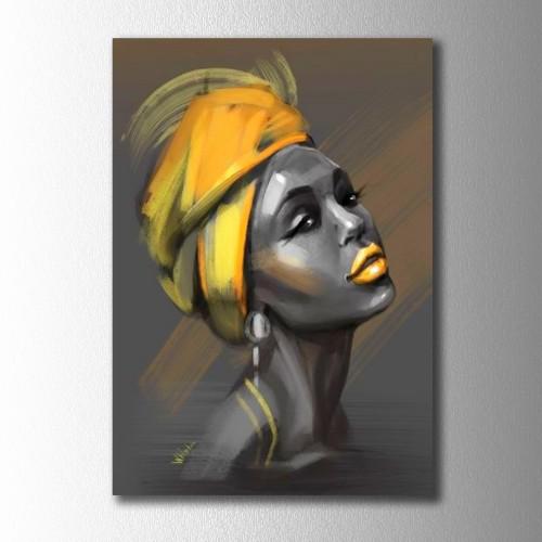 Sarı Eşarp Afrikalı Kadın Kanvas Tablo