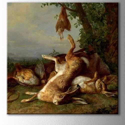 Tavşan Avı Kare Kanvas Tablo