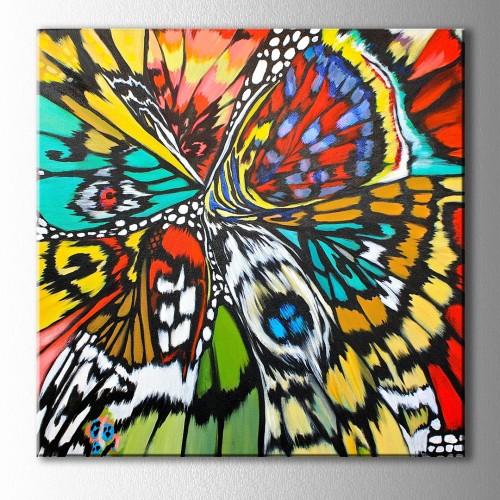 Kelebeğin Kanat Desenleri Kare Kanvas Tablo