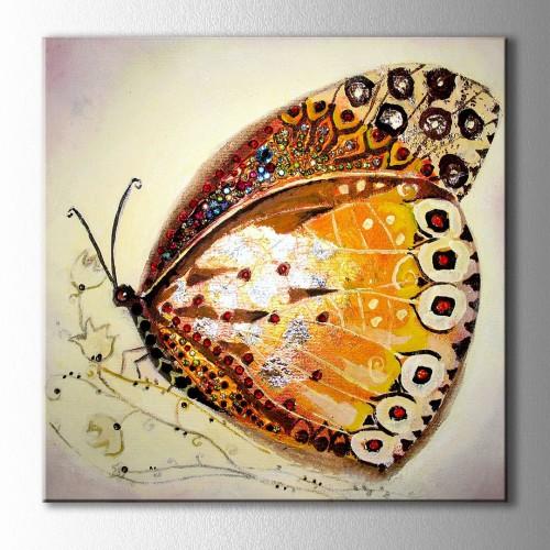 Altın Kelebek Kare Kanvas Tablo