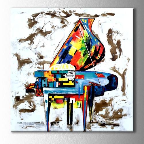 Renkli Piyano Kare Kanvas Tablo