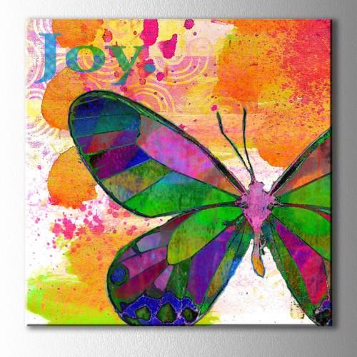 Renkli Kelebek Joy Kare Kanvas Tablo