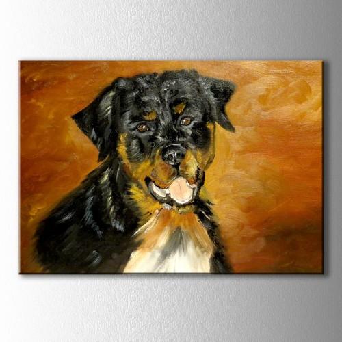 Siyah Köpek Kanvas Tablo