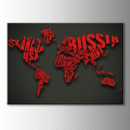 Kırmızı Tipografik Dünya Haritası Kanvas Tablo