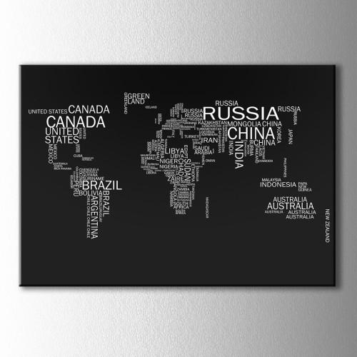 Siyah Beyaz Tipografik Dünya Haritası Kanvas Tablo
