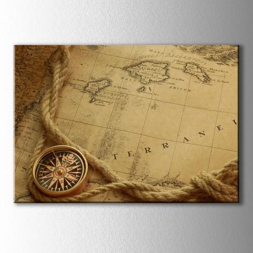 Akdeniz ve Pusula Dünya Haritası Kanvas Tablo