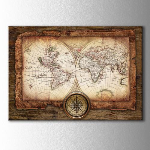 Ahşap Görünümlü Dünya Haritası Kanvas Tablo