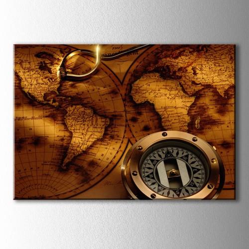 Pusula ve Dünya Haritası Kanvas Tablo