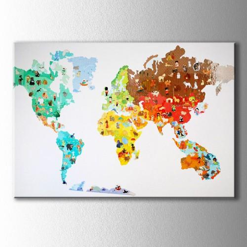 Çizimler Dünya Haritası Kanvas Tablo