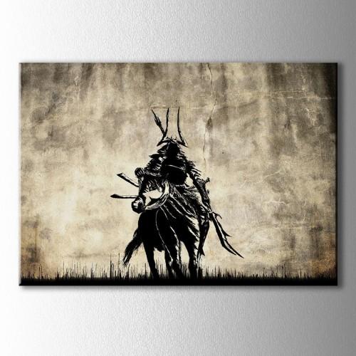 At Üstünde Moğol Savaşçı Kanvas Tablo
