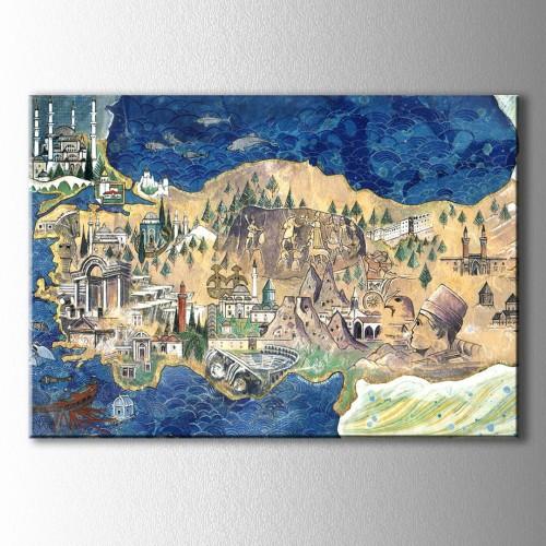 Tarihi Eserlerle Türkiye Haritası Kanvas Tablo