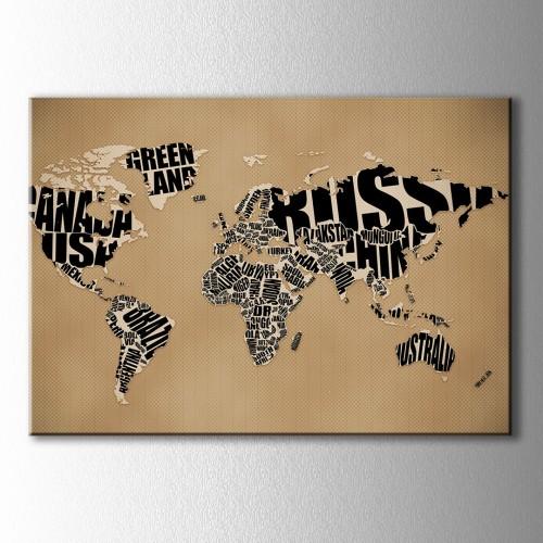 Kahve Siyah Tipografik Dünya Haritası Kanvas Tablo