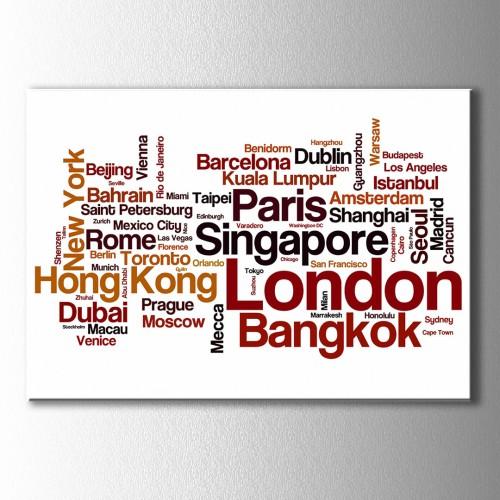 Tipografik Büyük Şehirler Kanvas Tablo
