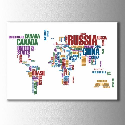 Ülkelerin İsimleri Dünya Haritası Kanvas Tablo