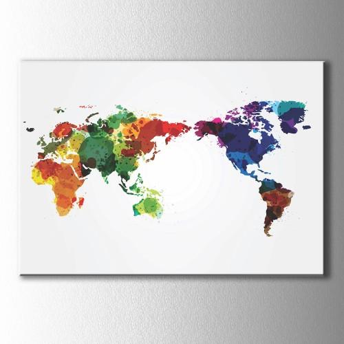 Püskürtme Renklerle Dünya Haritası Kanvas Tablo
