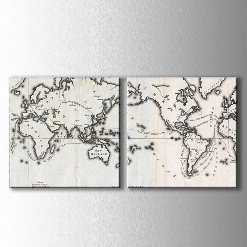 2 Parçalı Siyah Beyaz Dünya Haritası Kanvas Tablo