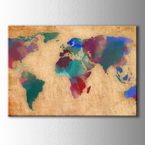 Kahve Zeminde Renkli Dünya Haritası Kanvas Tablo