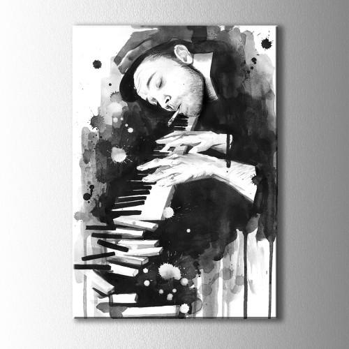 Siyah Beyaz Piyanist Kanvas Tablo