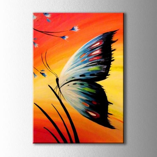 Kızıl Günde Mavi Kelebek Kanvas Tablo