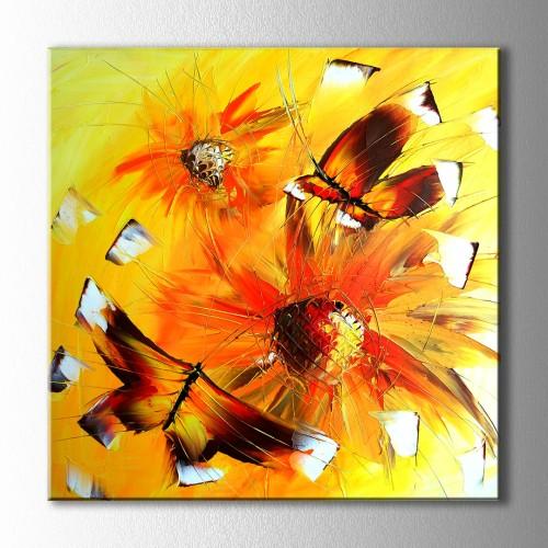 Sarı Çiçek ve Kelebek Kanvas Tablo