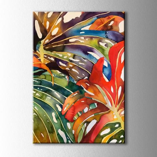 Renkli Yapraklar Soyut Kanvas Tablo