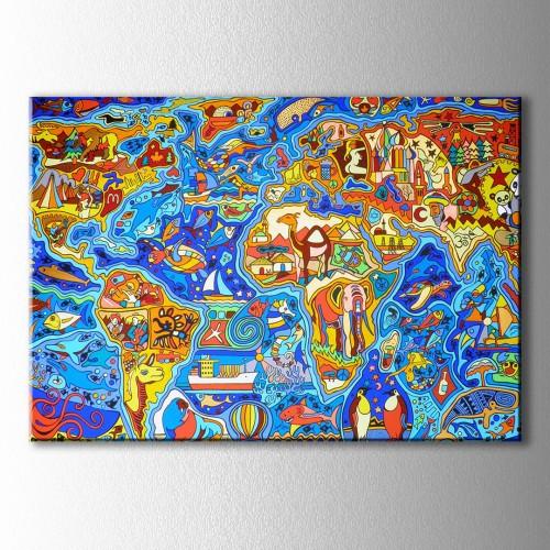 Çizimlerle Dünya Haritası Kanvas Tablo