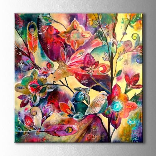 Çiçekler Ve Kuşlar Kare Kanvas Tablo