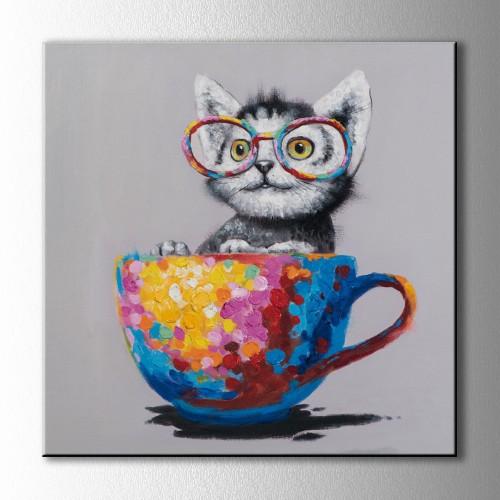 Fincandaki Kedi Kare Kanvas Tablo