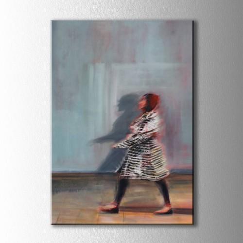 Soyut Yürüyen Kadın Kanvas Tablo