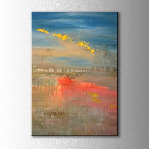 Soyut Göl ve Yansımalar Kanvas Tablo