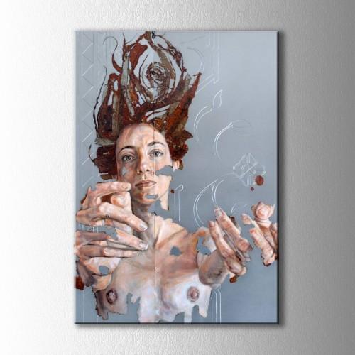 Soyut Parçalanmış Kadın Kanvas Tablo