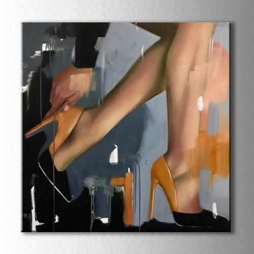 Soyut Topuklu Ayakkabı Kanvas Tablo