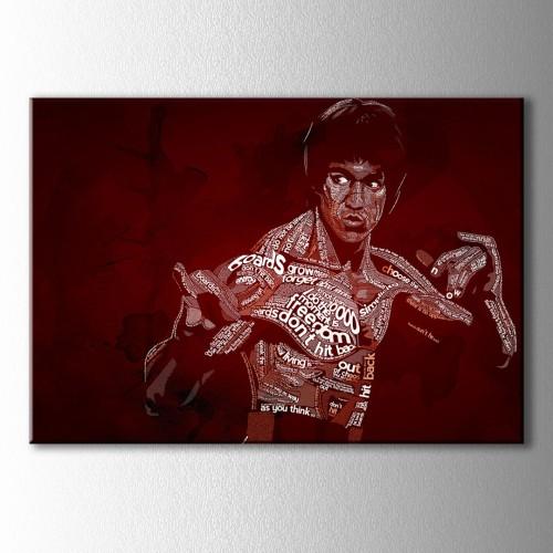 Tipografik Bruce Lee Çizim Kanvas Tablo