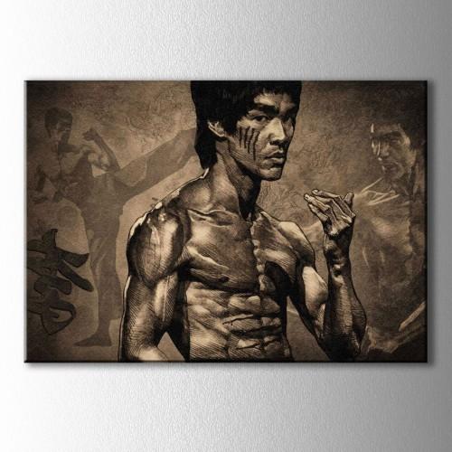 Siyah Beyaz Bruce Lee Kanvas Tablo