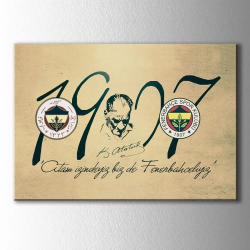 Fenerbahçe 1907 Atatürk İmzalı Kanvas Tablo