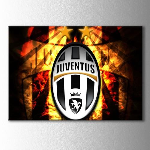 Juventus Ateşler İçinde Logo Kanvas Tablo