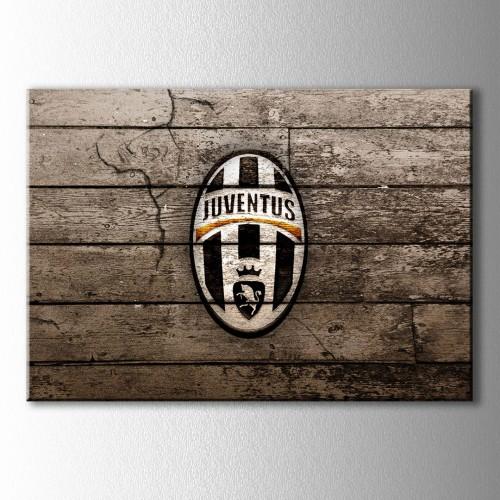 Juventus Ahşap Üzeri Logo Kanvas Tablo