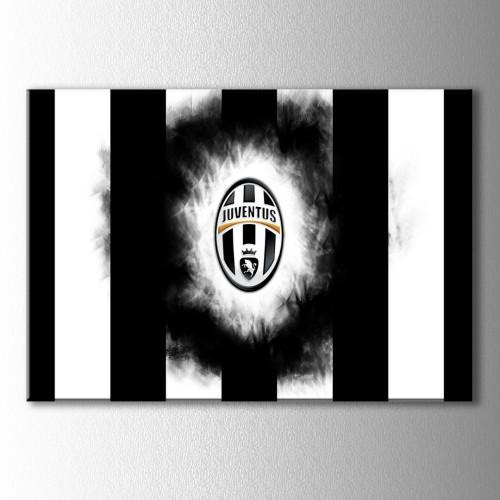 Juventus Çubuklu Logo Kanvas Tablo