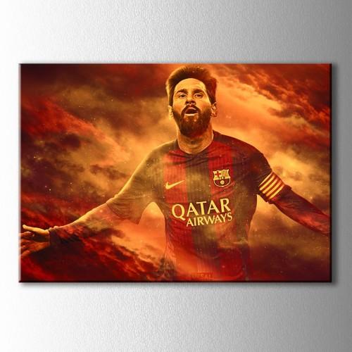 Bulutlar Arasında Messi Kanvas Tablo