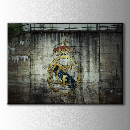 Duvar Grafiti Real Madrid Logo  Kanvas Tablo