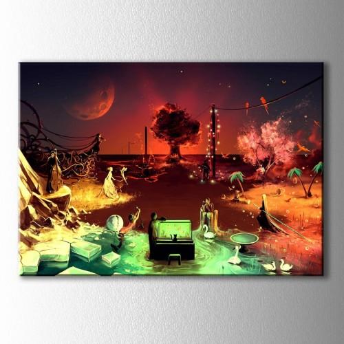 Kırmızı Gece Kanvas Tablo