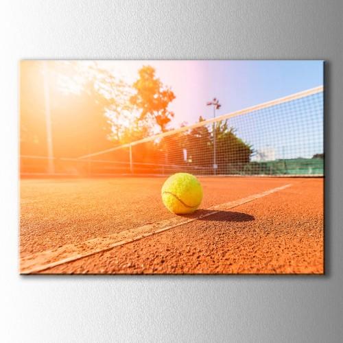 Tenis Sahası Gün Batımı Kanvas Tablo