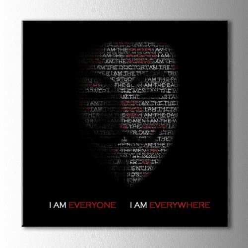 Anonymous Tipografik Kare Kanvas Tablo