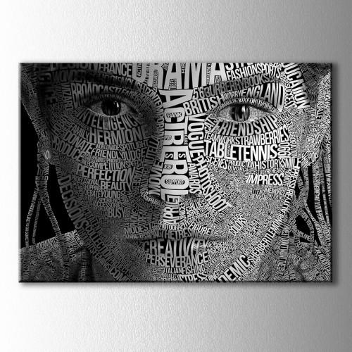 Emma Watson Tipografik Kanvas Tablo