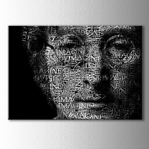 Jhon Lennon Tipografik Kanvas Tablo