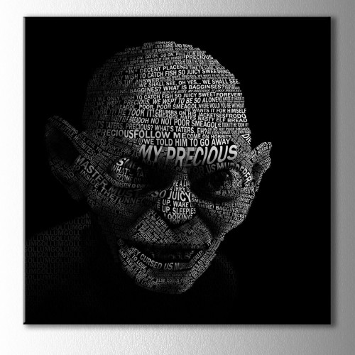 Lord of the Rings Gollum Tipografik Kare Kanvas Tablo
